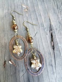 Check out this item in my Etsy shop https://www.etsy.com/listing/494516874/brown-earrings-flower-earrings-hoop