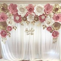 28 fun paper flower projects you will love were gettin hitched blush gold paper flower backdrop for engagement bridal shower bride to be sign mightylinksfo