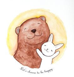Bear & Bunny Illustration Print Inspirational Positive by mikaart, $8.99