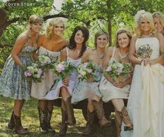 Her bridesmaids all wore different dresses and cowboy boots -- and Miranda was wearing her mother's dress...isn't it beautiful???