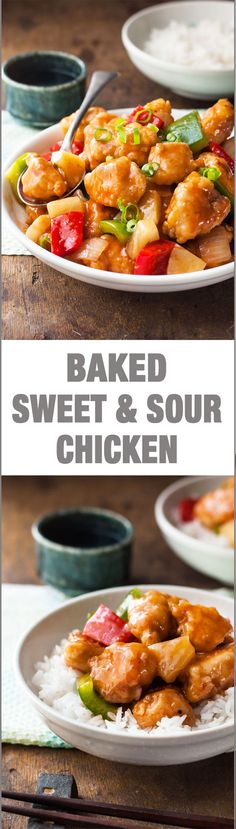 Oven Baked Sweet and Sour Chicken - this recipe is not like the usual. The chicken is crispy, not dry and the sauce is not overly sweet but still really glossy and sticky!