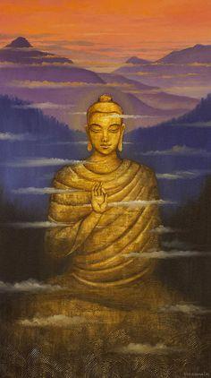 Buddha Print featuring the painting Buddha. Passing Clouds by Vrindavan Das Lotus Buddha, Art Buddha, Buddha Artwork, Buddha Kunst, Buddha Zen, Buddha Painting, Gautama Buddha, Buddha Buddhism, Buddhist Art