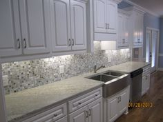 Grey And White Galley Kitchen kitchen, clean brown ceramic floor tile paired with white galley