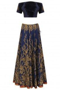 Navy Blue Off Shoulder Floral Embroidered Lehenga Set