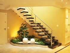 Choose from the largest collection of Interior, Exterior Design and Decorating Ideas to add style at home/office. Discover best Interior, Exterior inspiration photos for remodel & renovate, here. Home Stairs Design, Interior Stairs, Stair Design, Interior Garden, Best Interior, Interior Ideas, Small Garden Under Stairs, Style At Home, Inside Garden