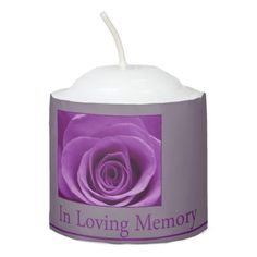 In Loving Memory purple rose Votive Candle