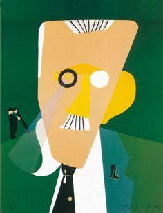 Eduardo Arroyo, Retrato de James Joyce, 1992 Litografía en 5 colores Formato: 65 x 50 cm Papel: Arches Edición de 140 ejemplares numerados y firmados