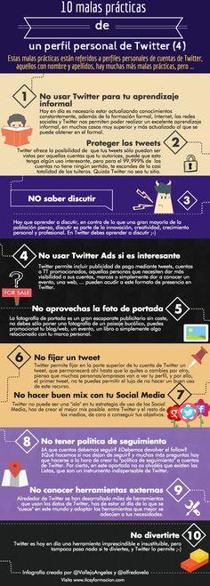 Hola: Una infografía con 10 malas prácticas de un perfil personal de Twitter (IV). Infografía realizada con Piktochart. Un saludo Podéis ver también 10 malas prácticas de un perfil personal de Twit...