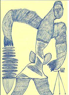 """""""Der Fotograf"""". Eine weitere Zeichnung von Ernst Kolb, gefunden auf der Webseite www.rolfbergmann.de"""