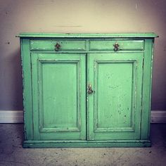 Beautifully bashed / arsenic green / distressed old cupboard / Frenchfinds.co.uk