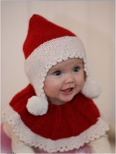 Baby Noel / DROPS Baby - Set of knitted Santa hat and neck warmer for baby and children in 2 threads DROPS Alpaca Bonnet Crochet, Crochet Poncho, Knit Or Crochet, Crochet For Kids, Free Crochet, Crochet Hats, Knitted Hats, Baby Knitting Patterns, Baby Patterns