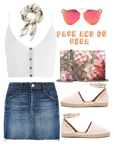"""""""pack and go CUBA"""" by nikitaku on Polyvore featuring Frame, Gucci, Zimmermann, L.L.Bean, Christian Dior and Valentino"""