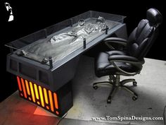 Han Solo Carbonite Desk & other great geeky home decor ideas. I'm totally making the Dinner, Batman plaque.