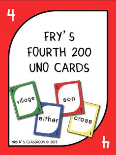 Fry's 4th 200 Words - Uno Cards --- Need a fun way to learn for your students to learn Fry's Words? Here is your answer! This game is played exactly the same way as the original Uno game but instead of numbers it contains Fry words on them. The students have to say the Fry word in order to be able to play the card. I've made these in print font so they are clear and easy to read. This file contains: Uno cards for the 4th 200 words in Fry's word list 4 skip, reverse and draw 2 cards 6 wild…