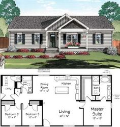 to fit 2 kids and make the porch all the way across the rest of the front, switch fridge and pantry location 3 bedroom 2 bathroom floor plan, one story, ranch I'd bump out bedroom Sims House Plans, Ranch House Plans, New House Plans, Dream House Plans, Small House Plans, House Floor Plans, Simple Floor Plans, Modular Home Floor Plans, Building Plans