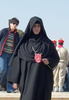A coptic nun near the city of Jericho, Palestine