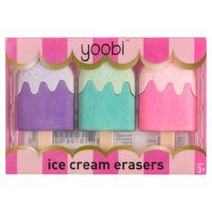 Yoobi Ice Cream Erasers 3pk,