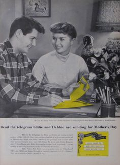 Eddie Fisher and Debbie Reynolds  in a 1957 Western Union ad for Mother's Day telegram.
