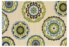 bedroom idea, outdoor rugs, color, beigegreen, green inspir, ivori green, deck decor, ivory, green teal living room