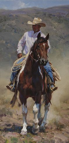 """""""Coldwater Canyon Ranch is nestled deep in the Blacksmith Fork Canyon of northern Utah. I chose a vertical format to highlight the natural gestures of this gorgeous paint and his able rider. Cowboy Horse, Cowboy Art, Western Cowboy, Westerns, Arte Equina, Animal Paintings, Horse Paintings, Pastel Paintings, Cowboy Pictures"""