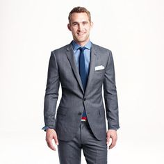 J B Ludlow Ludlow suit jacket with double vent in Japanese chambray | L o o k ...
