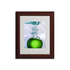 14'' x 11'' ''Apple Splash Ii'' Framed Canvas Wall Art, Brown