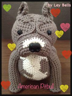 Amigurumi American Pitbull by request.. www.facebook.com/LeyBells