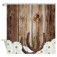 Rustic Barn Wood Horseshoes Shower Curtain. Perfect for a western or cowboy themed bathroom.
