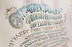 https://flic.kr/p/hL4fZW   Cantaires nadalencs Sant Joan de les Abadesses   Uncial writing, celtic versals and celtic knots inspired on the Book of Kells and the Lindisfarne Gospels. High quality colours, coffee, walnut ink, chinese stick ink and brause nib on wateford saunders paper. ———— Uncial, versals celtes i entrellaços inspirats en el Book of Kells i Lindisfarne Gospels. Pigments d'alta qualitat, cafè, tinta xinesa en barra, noguerina i ploma metàl·lica sobre paper wateford saunders.