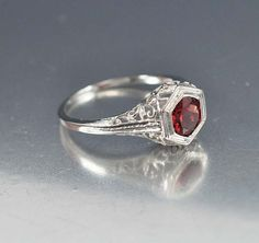 Garnet Ring Solitaire Deco Engagement Ring Sterling by boylerpf