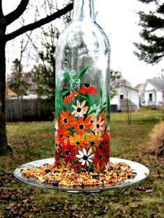 Wine Bottle Bird Feeder Recycled Clear Wine Bottle Bird Feeder Hand Painted, $18.00