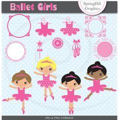 Instant Download Ballet Girls Digital Clip by SpringHillGraphics, $5.00