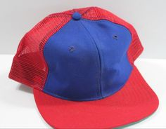 563791b8bc2 Details about Vintage Trucker Hat Blank Blue Red New Era Mesh Snapback USA  Made