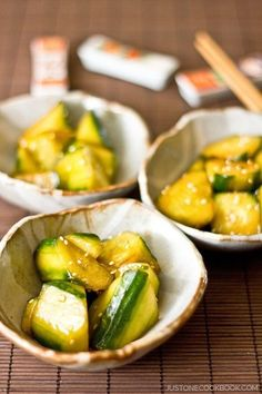 - Japanese Pickled Cucumbers きゅうりの浅漬け – Crunchy cucumber with sesame oil and chili oil. Simple Japanese pickled cucumbers recipe that you can enjoy at home as a refreshing side dish! Japanese Side Dish, Japanese Salad, Japanese Pickles, Japanese Dishes, Easy Japanese Recipes, Asian Recipes, Healthy Recipes, Japanese Food Healthy, French Recipes