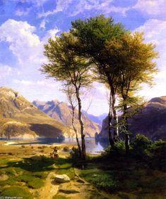 Souvenir du lac de Lucerne, huile sur toile de Alexandre Calame (1810-1864, Switzerland)