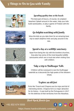 5 Things to Do in Goa with Family. Spending quality time at the beach, Go dolphin watching with family,Spend a day at a wildlife sanctuary,Take a trip to Dudhsagar Falls,Explore an old fort Travel Route, Travel And Tourism, Places To Travel, Travel Destinations, Places To Visit, India Trip, India Travel, Amazing Places On Earth, Old Fort