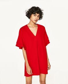 ZARA RED FRILLED-SLEEVE DRESS
