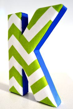 LETTER WALL ART - Fabric Letter K in Green Chevron with Royal Blue Ribbon
