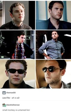 Small monkey to untamed lion lol...he doesn't smile much in season 3