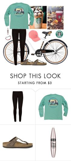 """""""Biking to Starbucks with my best friend"""" by aweaver-2 ❤ liked on Polyvore featuring Birkenstock, Maybelline, women's clothing, women's fashion, women, female, woman, misses and juniors"""