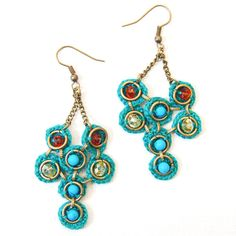 Crochet Earrings - Teal by ladymosquito #Earrings #ladymosquito