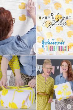 Need some fun baby shower gift ideas? Brooke White and Summer Bellessa, of The Girls with Glasses, have teamed up with JOHNSON'S® to show you their favorite DIY baby shower presents! In this video tutorial, the girls show you how to make a homemade, hand-stamped baby blanket and use it to wrap up must-have items for baby—like JOHNSON'S® Head-to-Toe Baby Wash, zipper onesie pajamas, and plush toys from Hallmark!