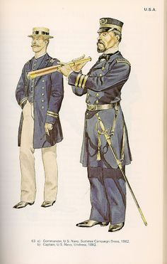 Commander US Navy in Summer campaign dress, 1862, and captain US Navy in undress uniform, 1862.