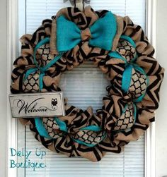 burlap wreath with accent ribbon