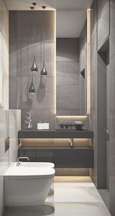 Banheiro Social: Iluminação Led Espelho cor bancada e cor parede cinza escuro