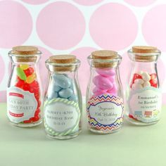 Personalized Birthday Vintage Milk Favor Jars by Beau-coup