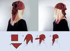 How to Tie a Pirate Bandana. A pirate bandana is a great way to complete your pirate costume. Choose between the traditional pirate bandana where your hair is covered or the thinner look where the bandana is used as a headband. Bandana Pirate, Head Scarf Styles, Hair Styles, Style Nomade, Ponytail Wrap, Gypsy Costume, Gypsie Costume Diy, Cowgirl Costume, Halloween Kleidung