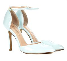 pale blue / mint almond toe pumps with delicate ankle strap - these would make pretty, lady-like wedding shoes or just you know going out heels.