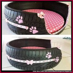 Dollar Store Crafter: Turn An Old Tire Into A Cute Dog Bed