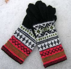 #Hand #knit #patterned #wool #mittens #Black #red #white  https://www.etsy.com/listing/479697066/hand-knitted-wool-gloves-black-white-red?ref=shop_home_active_1
